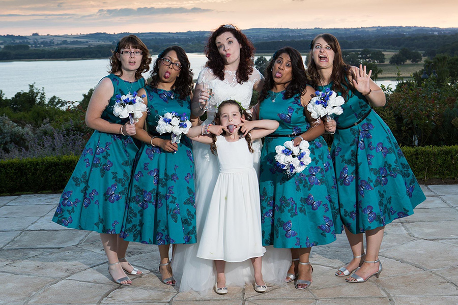My beautiful bridesmaids looked stunning in their Lady V dresses, but then maybe less stunning in this funny face photo!
